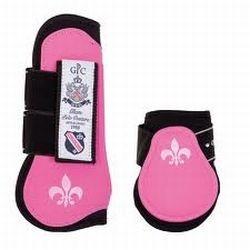 HV polo peesbescherming en strijklappen roze