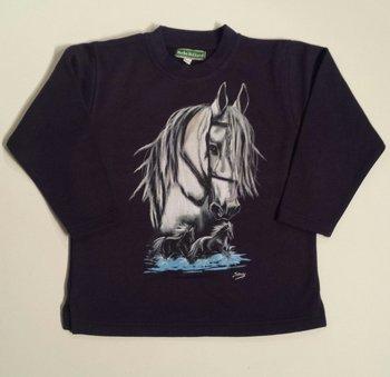 Horka sweater donker blauw wit paardenhoofd